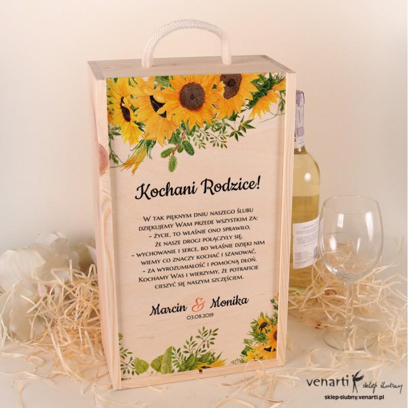 Słoneczniki Skrzynka na 2 wina Podziękowanie dla rodziców