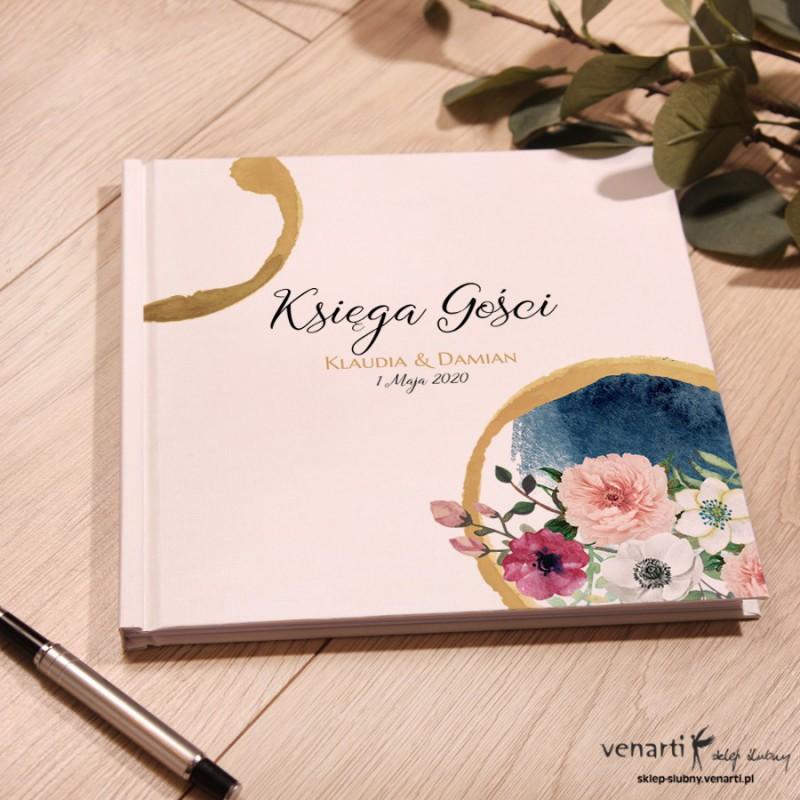 Kwiaty w akwarelowym kole Ślubny, biały album, księga gości
