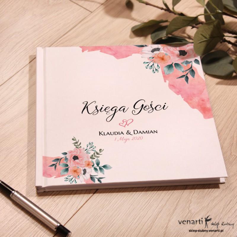 Kwiaty w akwarelowym pasku Ślubny, biały album, księga gości