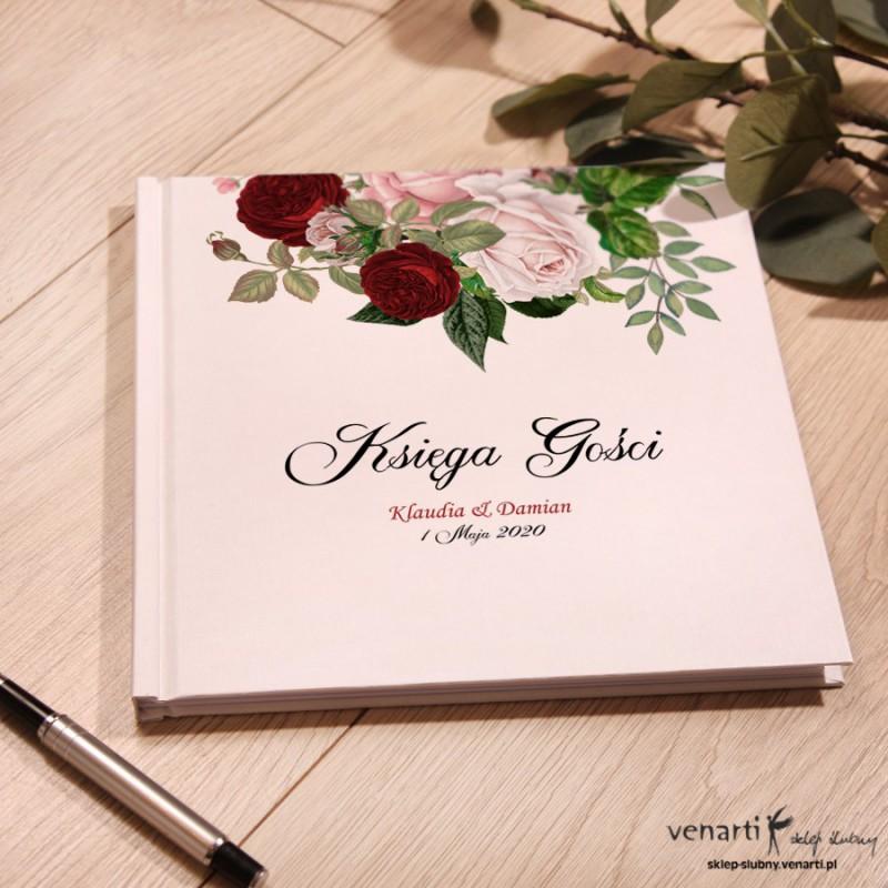 Bukiet piwonii Ślubny, biały album, księga gości
