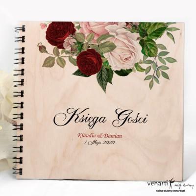 Bukiet kwiatów Drewniana, ślubna księga gości