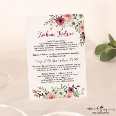 Bukiet kwiatów Szklane zaproszenia dla Rodziców