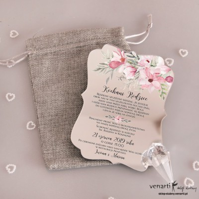 Magnolia Zaproszenia ślubne lustrzane dla Rodziców