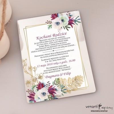 Bukiet kwiatów i złote liście Zaproszenia ślubne lustrzane dla Rodziców