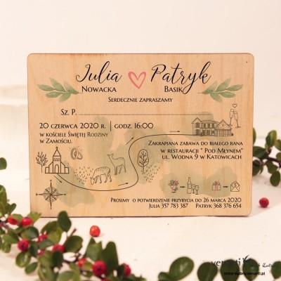 Mapka Drewniane zaproszenia ślubne
