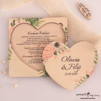 Anemone w kształcie serca drewniane zaproszenia dla Rodziców