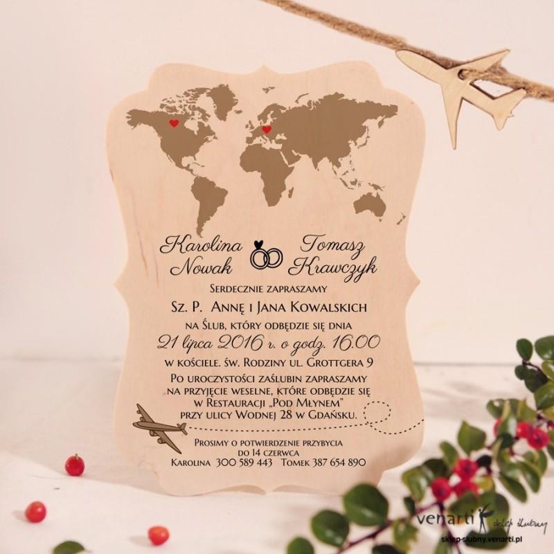 Mapa Świata Drewniane zaproszenia ślubne