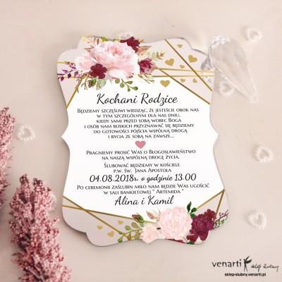 Różowe piwonie Zaproszenia ślubne lustrzane dla Rodziców