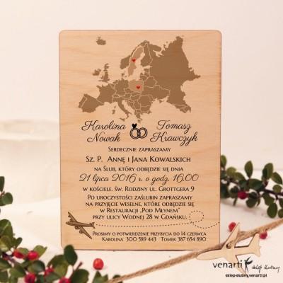 Mapa Europy Drewniane zaproszenia ślubne