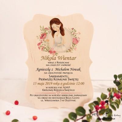 Dziewczynka Drewniane zaproszenie I Komunia Święta