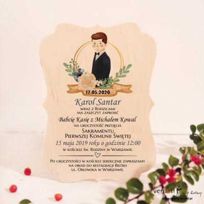 Chłopiec Drewniane zaproszenie I Komunia Święta