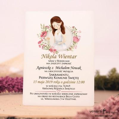 Dziewczynka Białe zaproszenia na komunię z pleksi