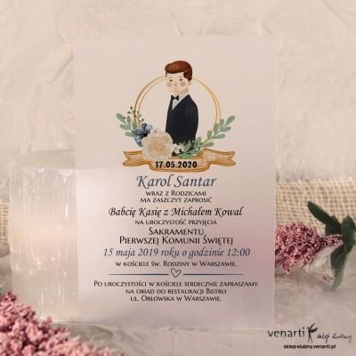Chłopiec Zaproszenia ślubne przezroczyste