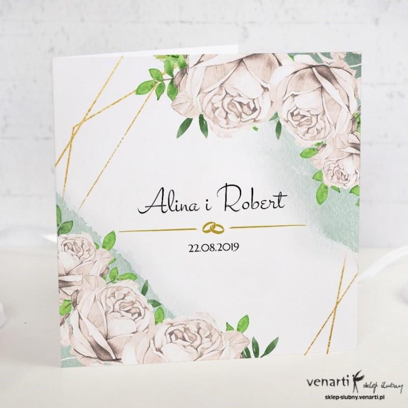 Białe róże Zaproszenia ślubne