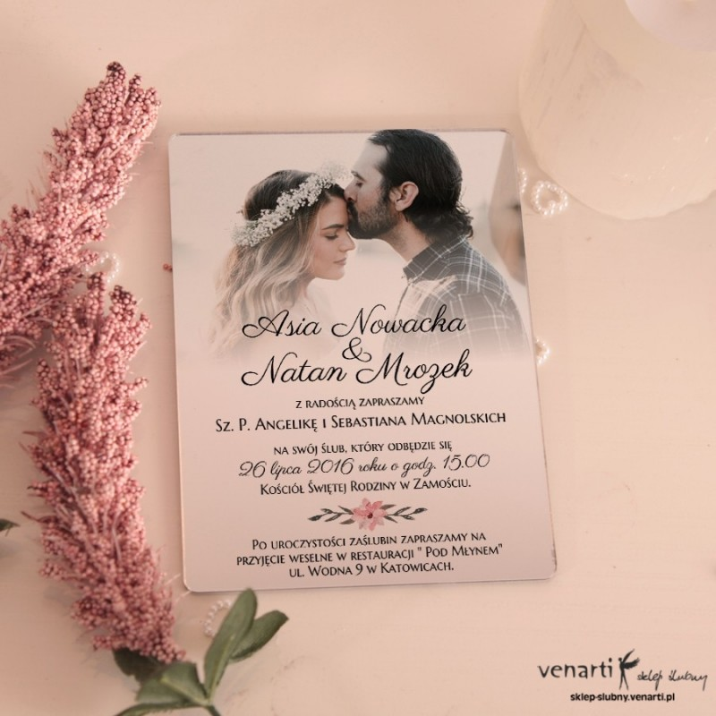 Lustrzane zaproszenia ślubne ze zdjęciem