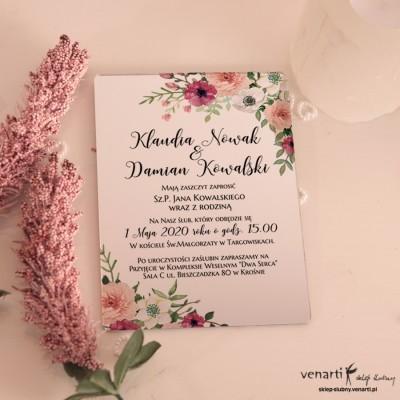 Bukiet kwiatów Lustrzane zaproszenia ślubne