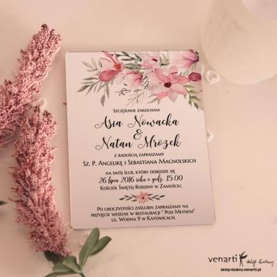 Magnolie Lustrzane zaproszenia ślubne