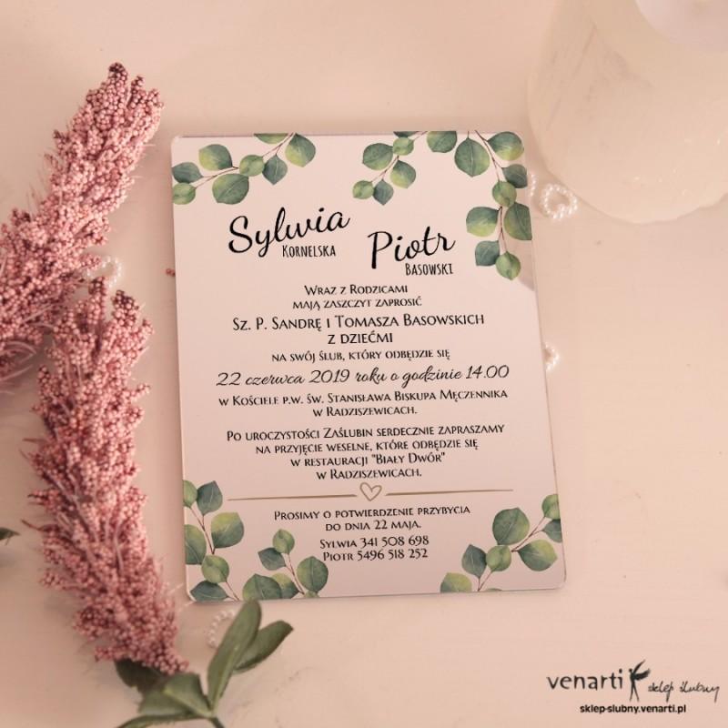 Liście eukaliptusa Lustrzane zaproszenia ślubne
