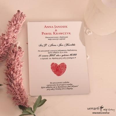 Serce z odcisków Lustrzane zaproszenia ślubne