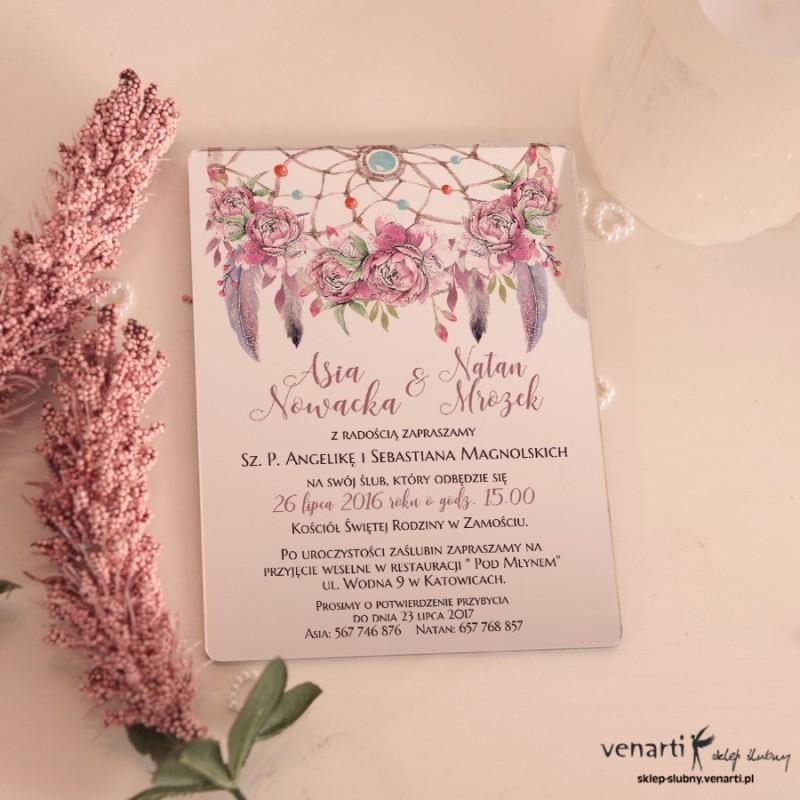 Różowe pióra boho Lustrzane zaproszenia ślubne