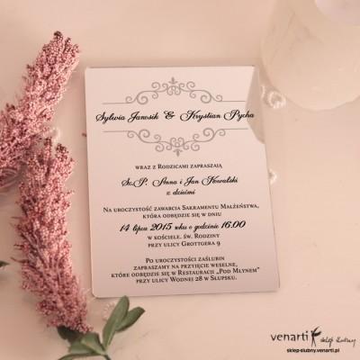 Szary wzorek Lustrzane zaproszenia ślubne
