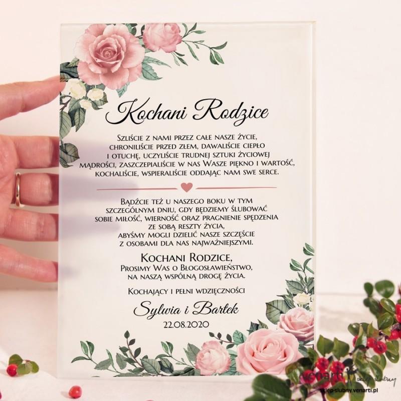 Pudrowe róże Szklane zaproszenia dla Rodziców