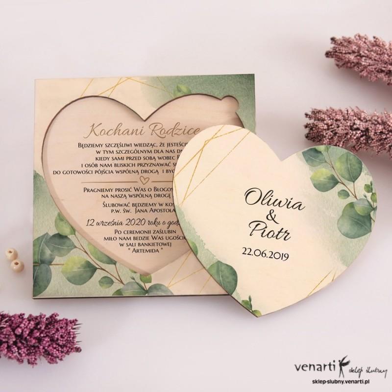 Liście eukaliptusa z geometryczną ramką Drewniane zaproszenia dla Rodziców Serce