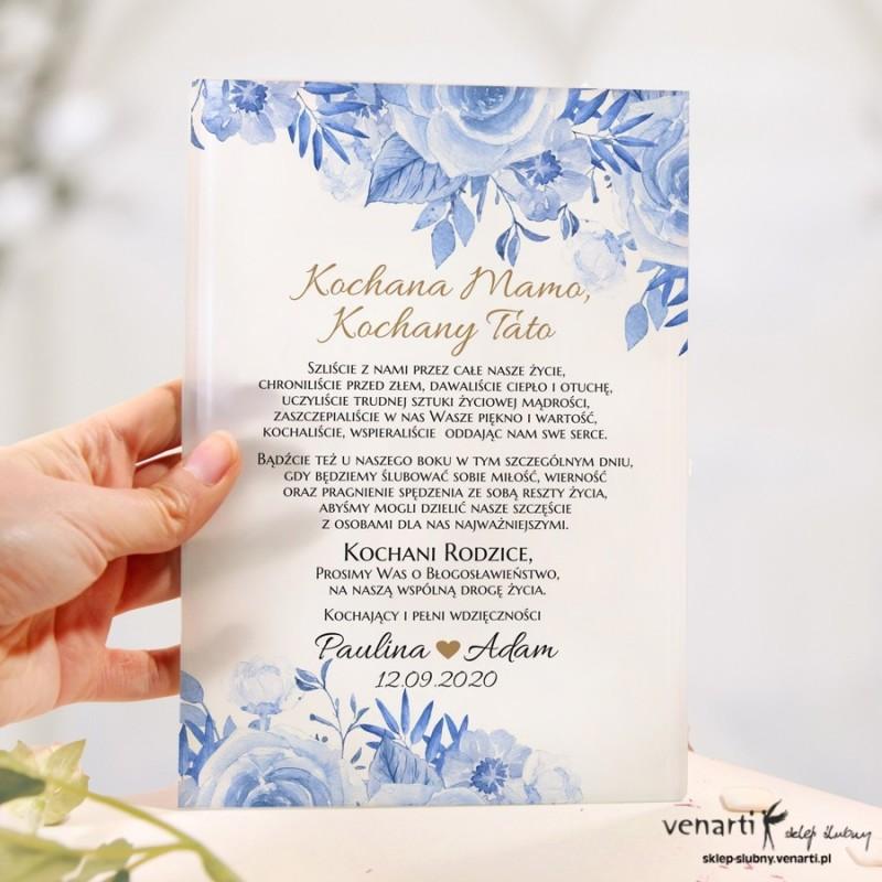 Niebieskie kwiaty Szklane zaproszenia dla Rodziców