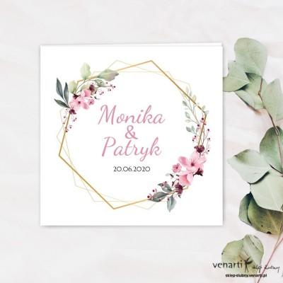 Zaproszenia ślubne Różowe kwiaty z geometrią