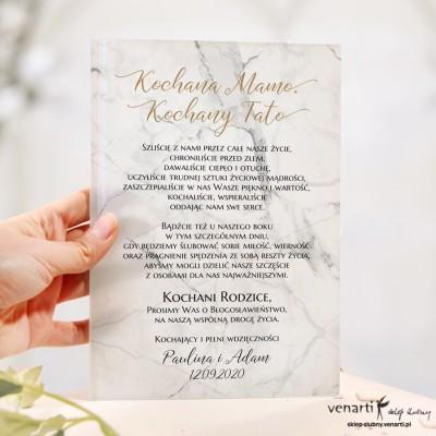 Marmur Szklane zaproszenia dla Rodziców