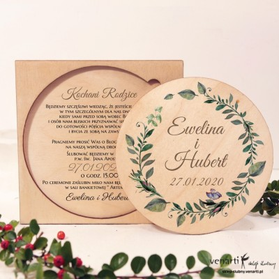 Zielone liście drewniane zaproszenia dla Rodziców