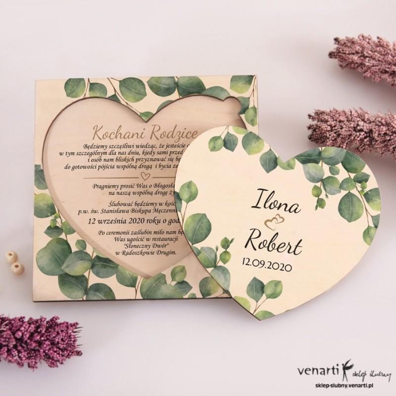Liście eukaliptusa Drewniane zaproszenia dla Rodziców Serce