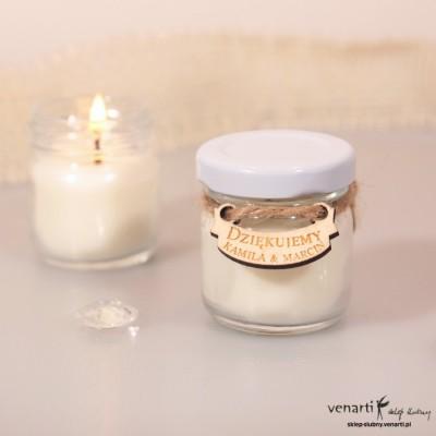 Sojowa świeczka zapachowa w słoiczku w kolorze białym