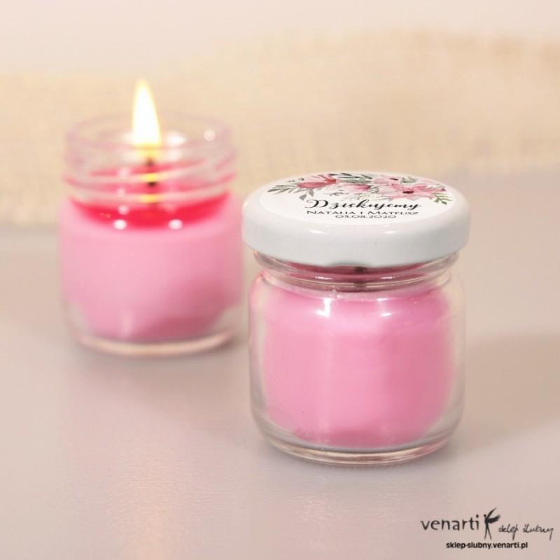 Sojowa świeczka zapachowa w słoiczku w kolorze różu