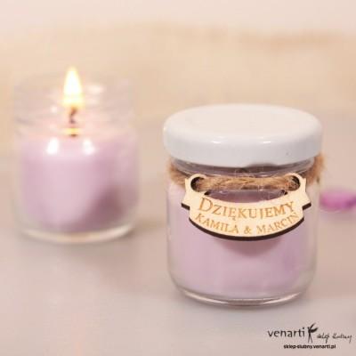 Sojowa świeczka zapachowa w słoiczku w kolorze jasnego fioletu