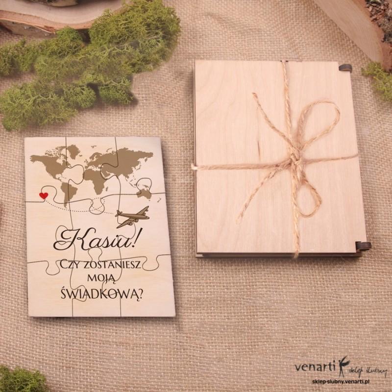 Świadkowanie, puzzle i pudełko drewniane: Czy zostaniesz moim świadkiem? Mapa świata