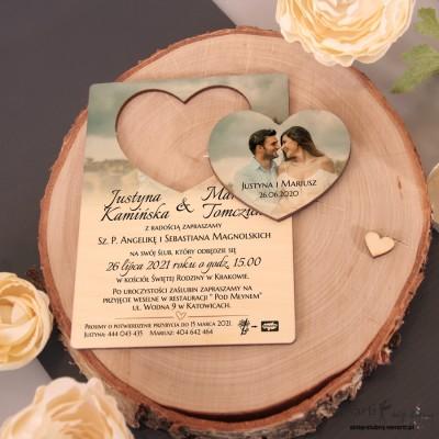 Drewniane zaproszenia z MAGNESEM wzór z Waszym zdjęciem