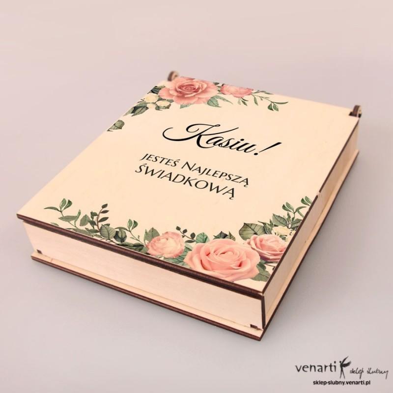 Pudełko do bransoletek motyw pudrowych róż, podziękowanie dla świadkowej