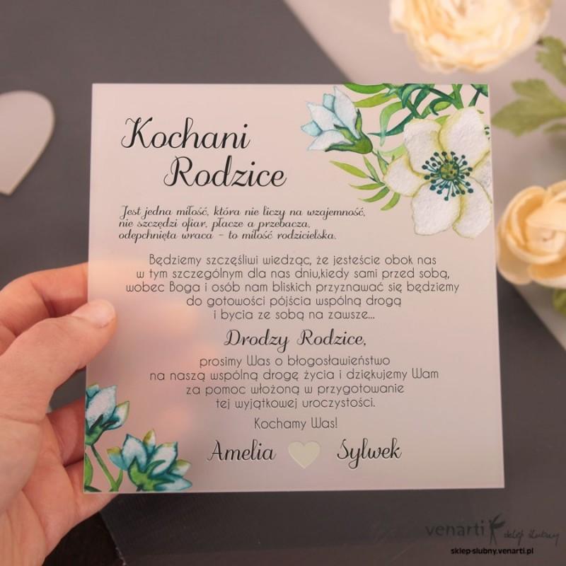 Niebieskie kwiaty Mleczne, akrylowe zaproszenia dla rodziców