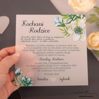 Niebieskie kwiaty Mleczne, akrylowe zaproszenia ślubne
