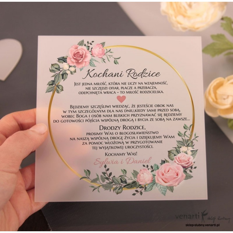 Pudrowe róże w kole Mleczne, akrylowe zaproszenia dla rodziców