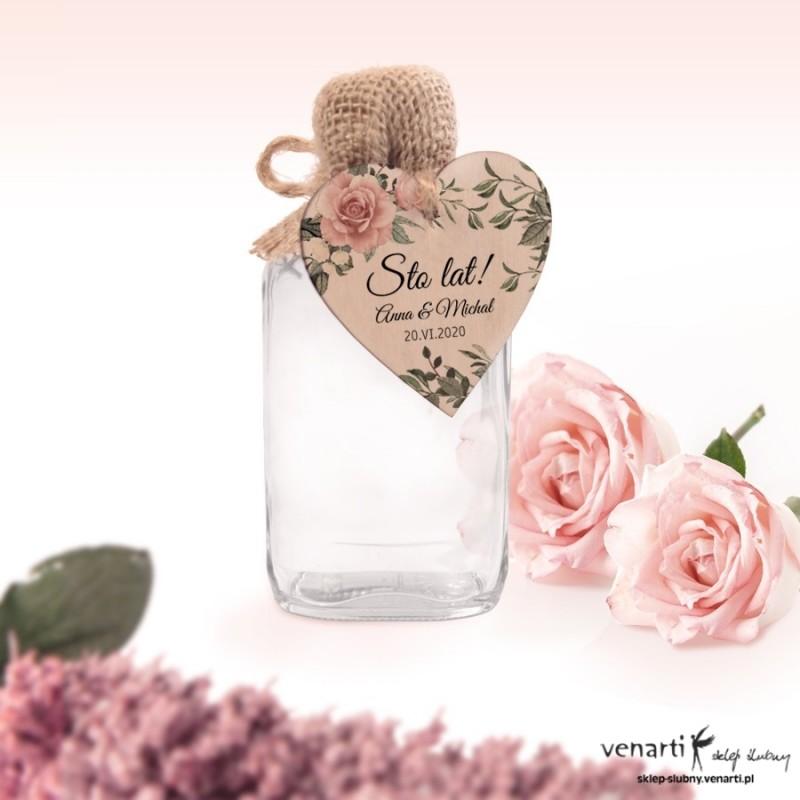 Pudrowe róże Ślubne butelki z serduszkiem drewnianym