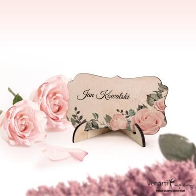 Pudrowe róże Winietki ślubne drewniane ozdobne