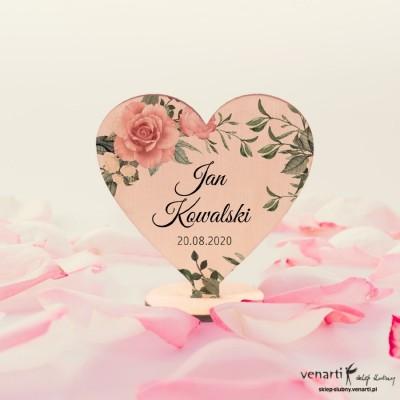 Pudrowe róże Winietki drewniane ślubne Serce