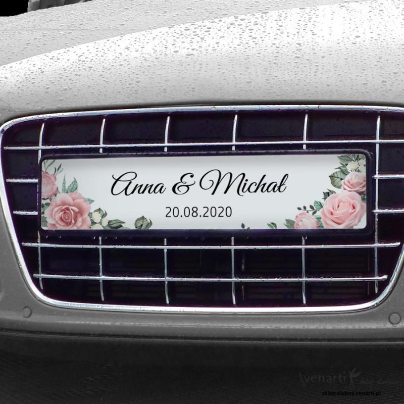 Pudrowe róże Tablice rejestracyjne ślubne