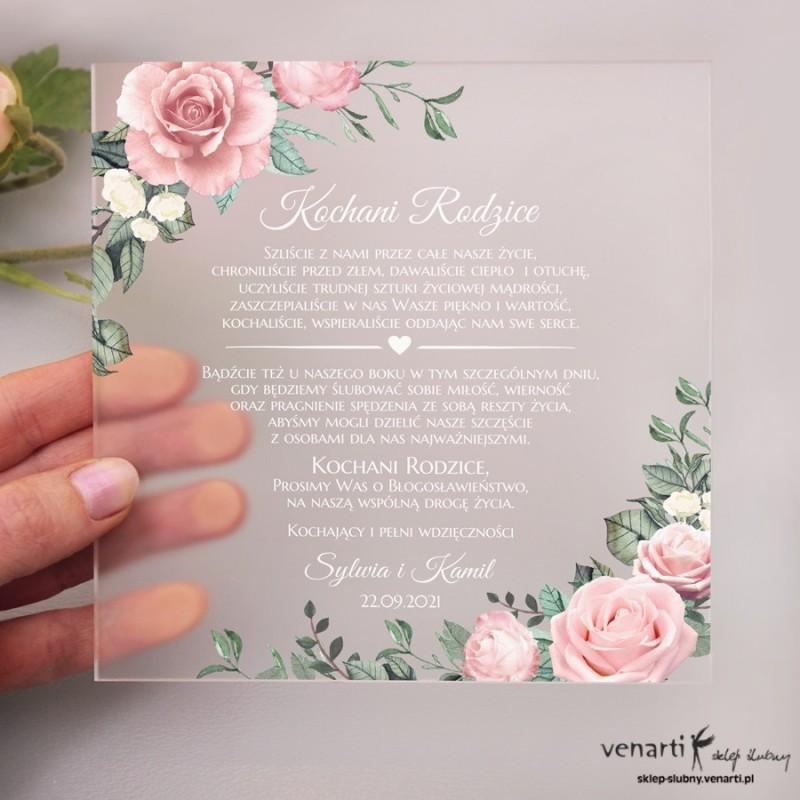 Pudrowe róże Satynowe, akrylowe zaproszenia dla Rodziców