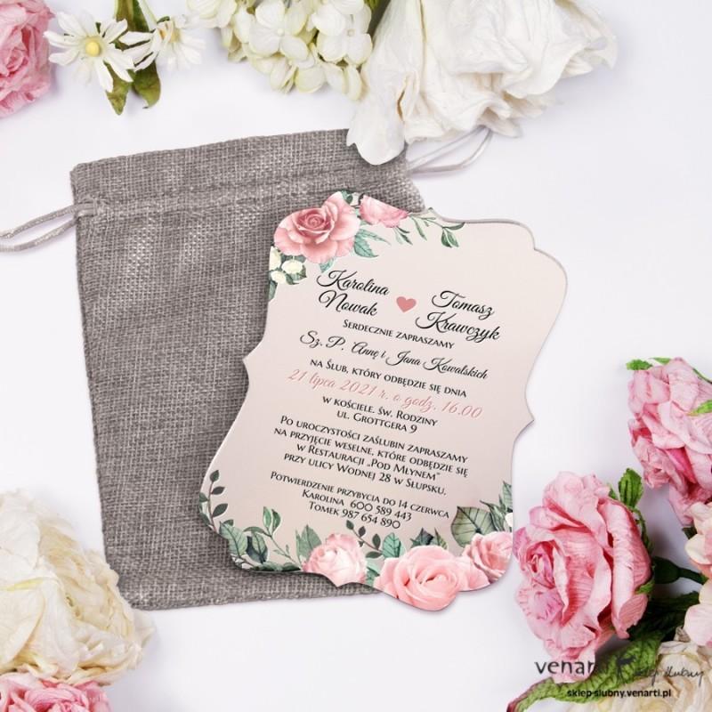 Pudrowe róże Lustrzane zaproszenia ślubne