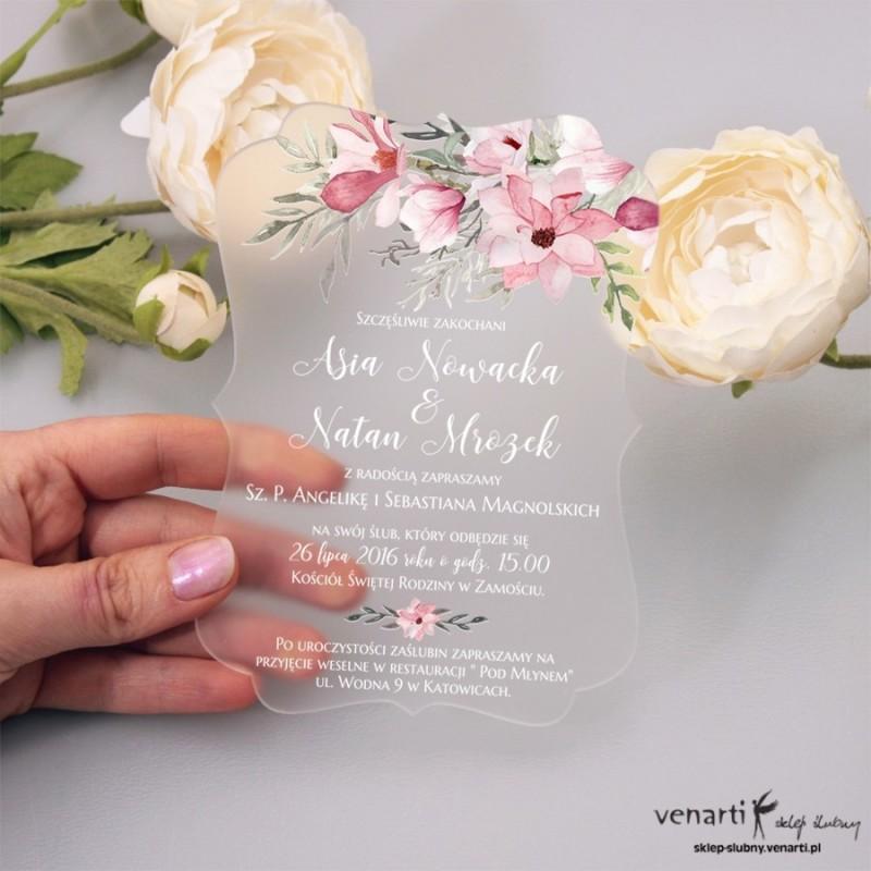 Magnolia Satynowe, akrylowe zaproszenia ślubne ozdobne z pleksi