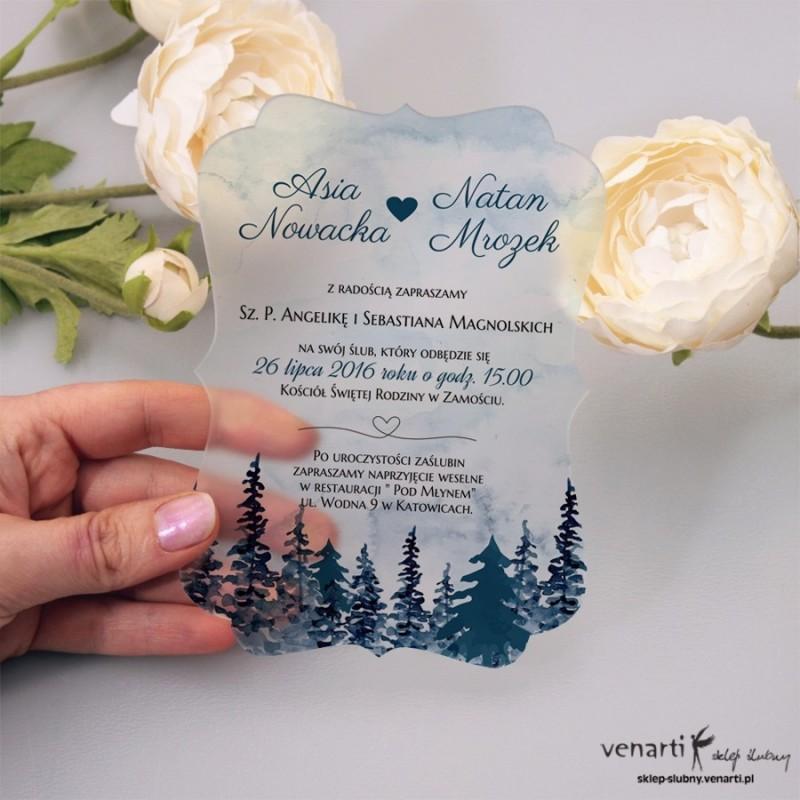 Las Satynowe, akrylowe zaproszenia ślubne ozdobne z pleksi