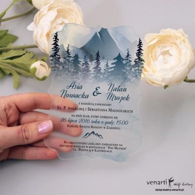 Góry Satynowe, akrylowe zaproszenia ślubne ozdobne z pleksi